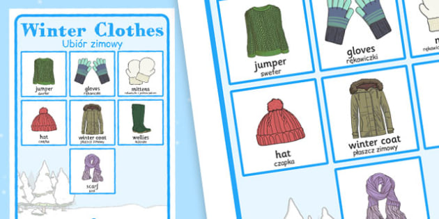 Winter Clothes Vocabulary Poster Polish Translation - polish, winter, clothes, vocabulary, poster, display