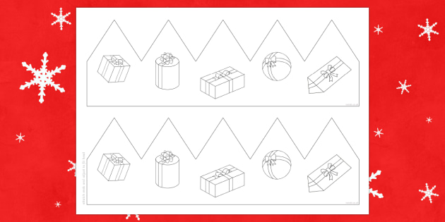 Christmas Present Party Hat Template Activity