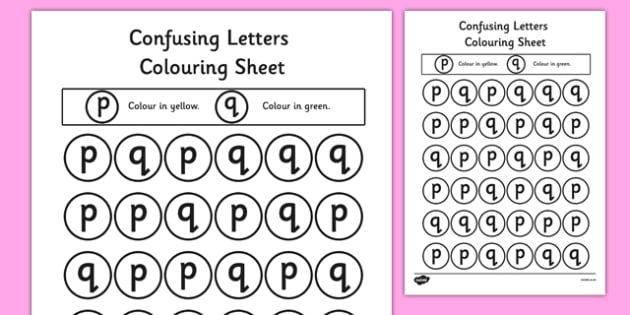 Confusing Letters Colouring Worksheets P and Q - words, vocab