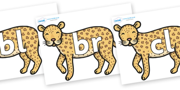 Initial Letter Blends on Leopards - Initial Letters, initial letter, letter blend, letter blends, consonant, consonants, digraph, trigraph, literacy, alphabet, letters, foundation stage literacy