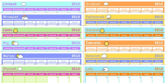 Kalendarz 2015 po polsku - do pobrania, dla nauczycieli, szkola , Polish