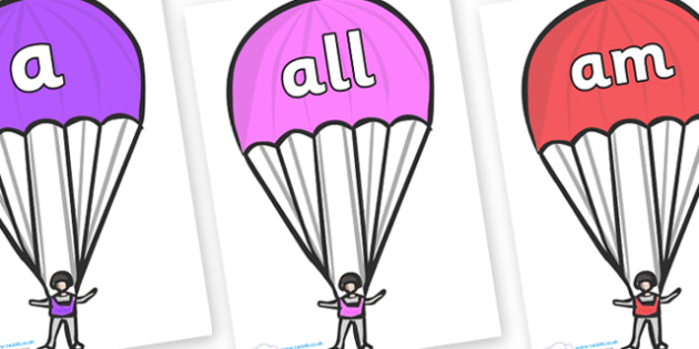 Foundation Stage 2 Keywords on Parachutes - FS2, CLL, keywords, Communication language and literacy,  Display, Key words, high frequency words, foundation stage literacy, DfES Letters and Sounds, Letters and Sounds, spelling