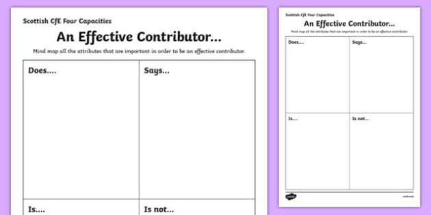 Scottish Curriculum for Excellence Four Capacities Effective Contributors Activity Sheet-Scottish, worksheet