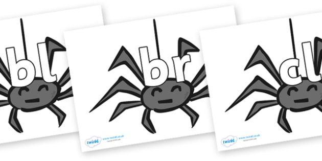 Initial Letter Blends on Spiders - Initial Letters, initial letter, letter blend, letter blends, consonant, consonants, digraph, trigraph, literacy, alphabet, letters, foundation stage literacy