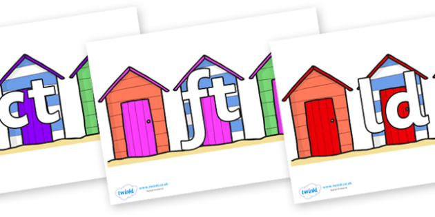 Final Letter Blends on Beach Huts - Final Letters, final letter, letter blend, letter blends, consonant, consonants, digraph, trigraph, literacy, alphabet, letters, foundation stage literacy