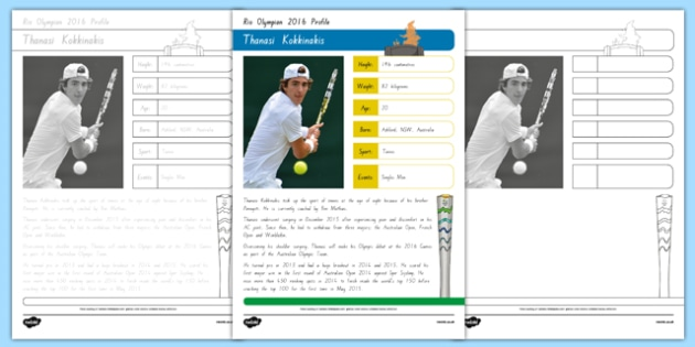 Australian Rio Olympian Thanasi Kokkinakis Handwriting Practice Activity Sheets-Australia, worksheet