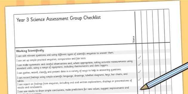 2014 Curriculum Year 3 Science Assessment Group Checklist - target