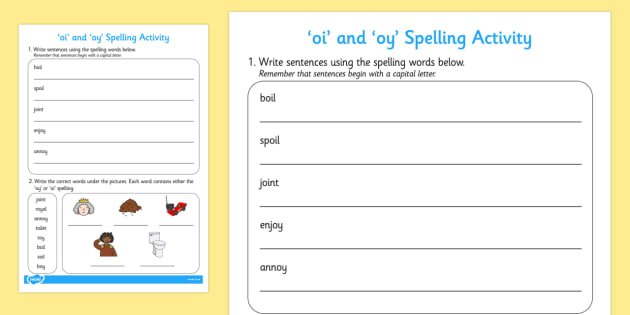 oi and oy Sentences and Spelling Activity - oi, oy, spelling