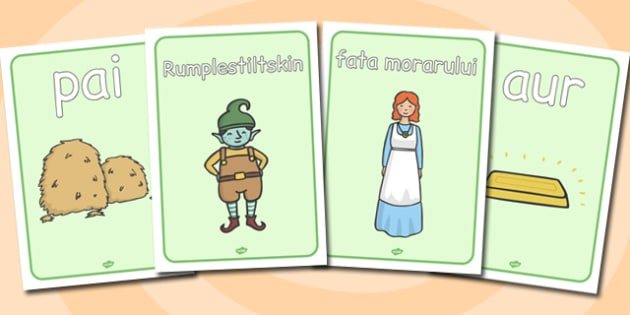 Rumpelstiltskin Planse cu imagini si cuvinte din poveste, Postere A4, Romanian