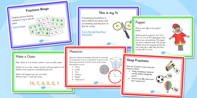KS1 Fraction Starter Ideas Pack - ks1, starter ideas, fraction, pack