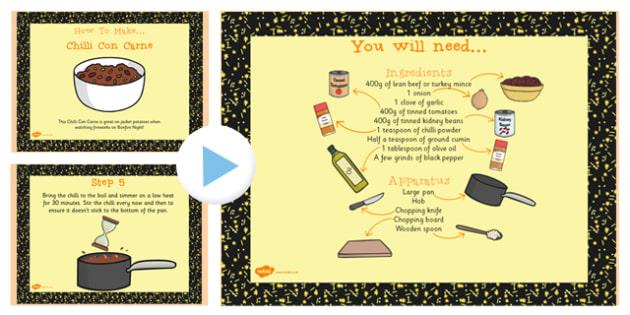 Chilli Recipe PowerPoint - powerpoint, recipe, chilli, food