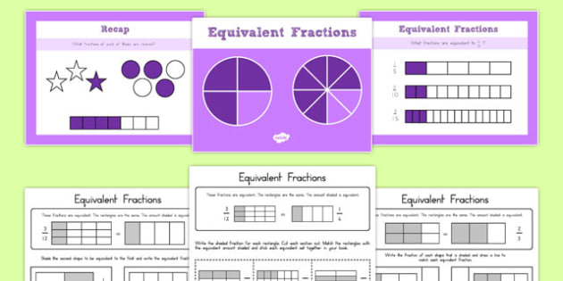 Grade 3 Equivalent Fractions PowerPoint with Worksheets USA - usa, america, grade 3, fractions