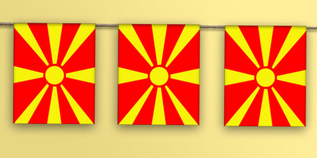 Macedonia Flag Bunting - macedonia flag, macedonia, flag, display bunting, display, bunting