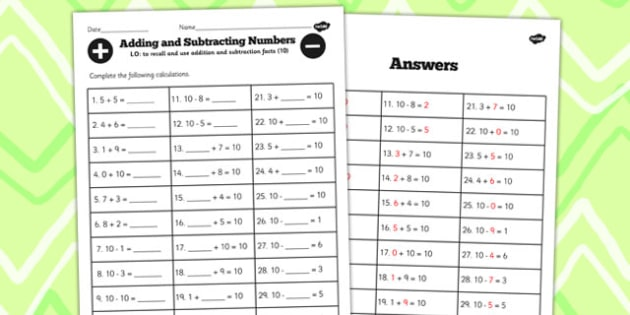Number Facts to 10 Worksheet - number, facts, worksheet, 10, math