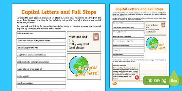 Capital Letters and Full Stops Practice Sheet - capital letters, full stops, practice, sheet