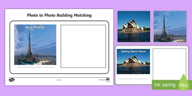Workstation Pack: Photo to Photo Building Matching Activity