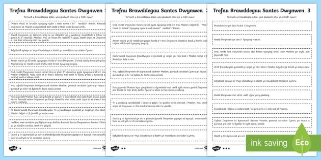 Trefnu Brawddegau Santes Dwynwen - Gwahaniaethol - Darllen, Cymraeg, iaith, thema, Santes Dwynwen, Cyfnod Allweddol 2, trefnu brawddegau, gwahaniaethol
