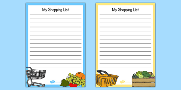 Fruit And Veg Shop Role Play Shopping Lists - Fruit And
