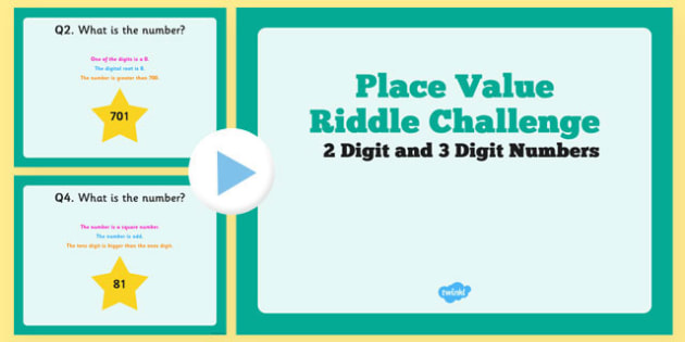 2 Digit and 3 Digit Number and Place Value Riddle Challenge PowerPoint - 2 digit, 3 digit, place value