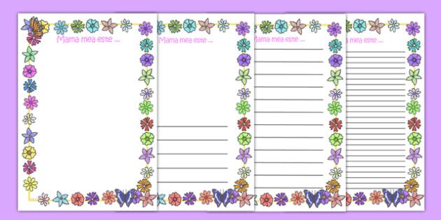 Pagini de scriere, Ziua Mamei - mama, este, 8, martie, felicitare