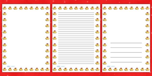 Christmas Bells Portrait Page Borders- Portrait Page Borders - Page border, border, writing template, writing aid, writing frame, a4 border, template, templates, landscape