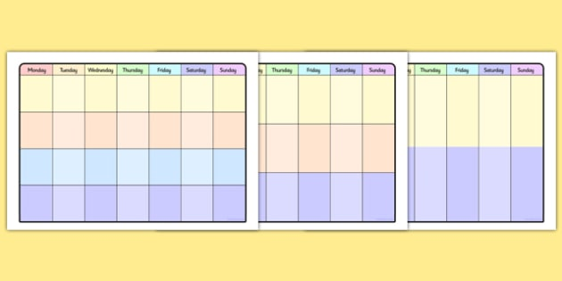 Full Week Timetables - week timetable, time table, planner, diary