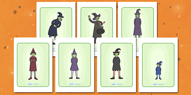 Witch Characters Discussion Pictures - witch, discussion, cards, pictures, characters, happy, angry, small, tall, magic, circle, circle time, discuss