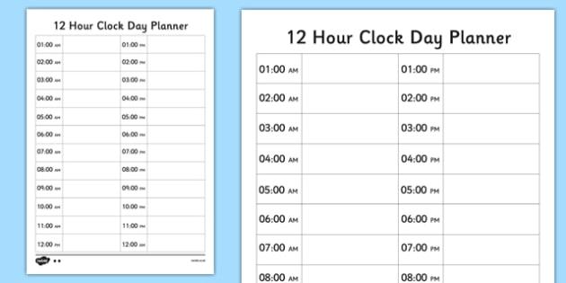 12 Hour Clock Day Planner - 12 hour clock, 12 hour, clock, hour