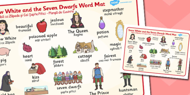 Snow White and the Seven Dwarfs Word Mat Romanian Translation