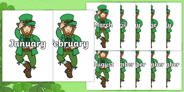 Months of the Year on Leprechauns - Months of the Year, Months poster, Months display, display, poster, frieze, Months, month, January, February, March, April, May, June, July, August, September