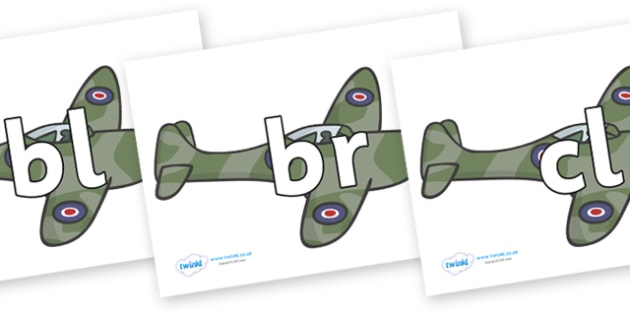 Initial Letter Blends on Planes - Initial Letters, initial letter, letter blend, letter blends, consonant, consonants, digraph, trigraph, literacy, alphabet, letters, foundation stage literacy