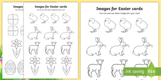 Easter Card Templates (Colouring) - Design, Easter Card, Easter