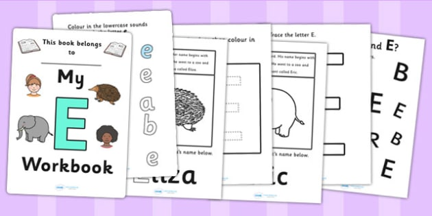 My Workbook E uppercase - workbook, E sound, uppercase, letters, alphabet, activity, handwriting, writing