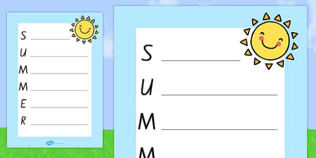 Summer Acrostic Poem Template - nz, new zealand, summer, summer acrostic poem, summer acrostic template, weather and seasons, seasons acrostic poem, seasons poem template