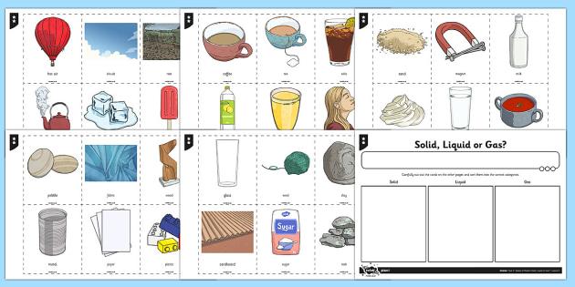 Solids Liquids Gases Sorting Activity - solids liquids and gases, states, solid liquid and gas sorting cards, states sorting cards, science sorting game