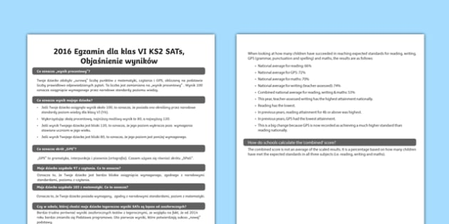 2016 KS2 Sats Results Explained Adult Guidance Polish - polish, KS2 SATS, SATS results, 2016 SATS, SATS letter to parents, parents, guidance