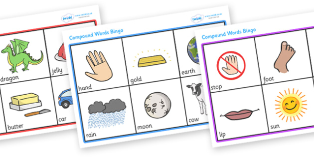 Compound Word Bingo (with Words) - compound word, bingo, game, game, activity, compound, word, words, images, match, dominoe, fun