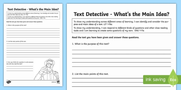 CfE First Level Literacy and English Reading Text Detective What's the Main Idea? Activity Sheet