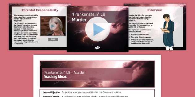 Frankenstein Lesson Pack 8: Murder! Chapters 7 and 8 - murder, chapter 7, chapter 8, frankenstein, lesson 8