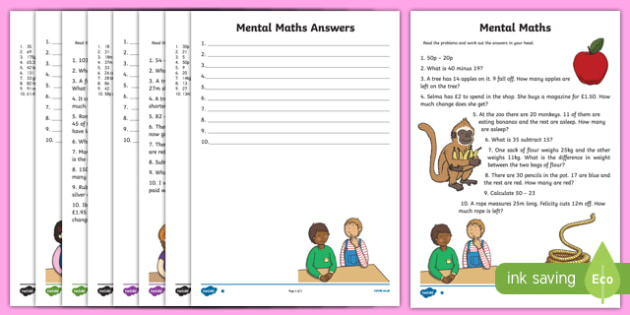 Mental Maths Subtraction Activity Sheet Pack, worksheet