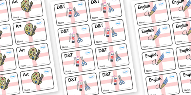 England Themed Editable Book Labels - Themed Book label, label, subject labels, exercise book, workbook labels, textbook labels