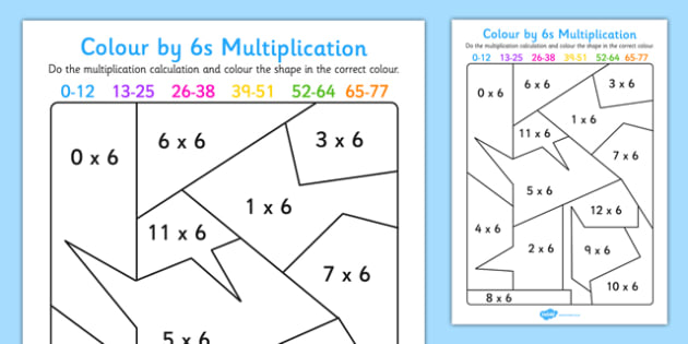 Colour by 6s Multiplication Activity Worksheet - colour, 6s, multiplication, activity, worksheet