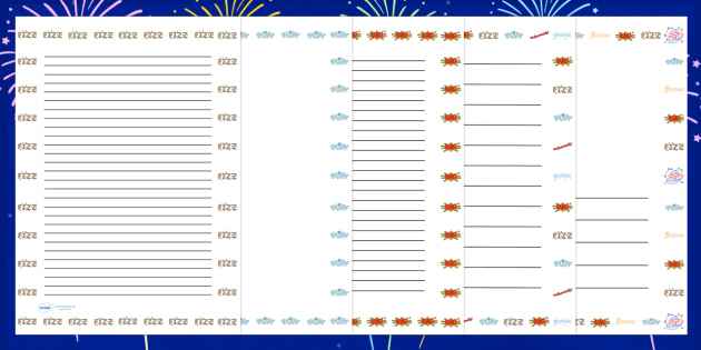 Bonfire Night Firework Onomatopoeia Page Borders - bonfire night, firework, onomatopoeia, page borders, writing frames, lined pgaes, line guides