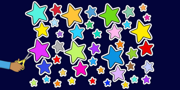 Multicoloured Star Display Cut Outs - star, display, cut outs