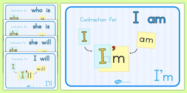 Contractions Grammar Display Posters - australia, display, poster