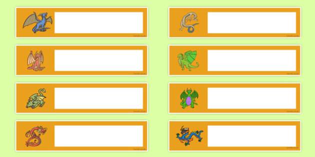 Dragon Themed Editable Gratnells Tray Labels - dragon, tray label