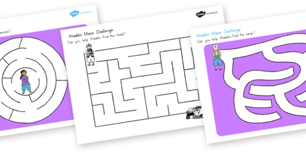 Aladdin Differentiated Maze Activity Sheets - activities, sheets , worksheet