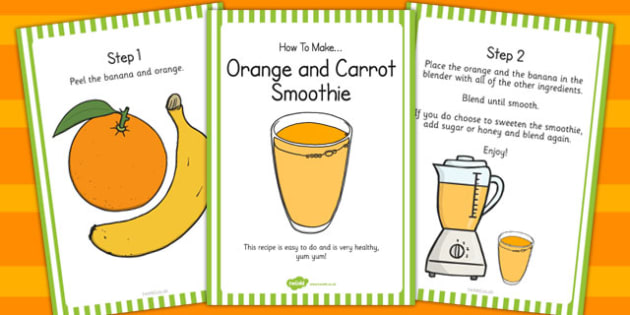 Orange and Carrot Smoothie Recipe Cards - recipe, cards, smoothie