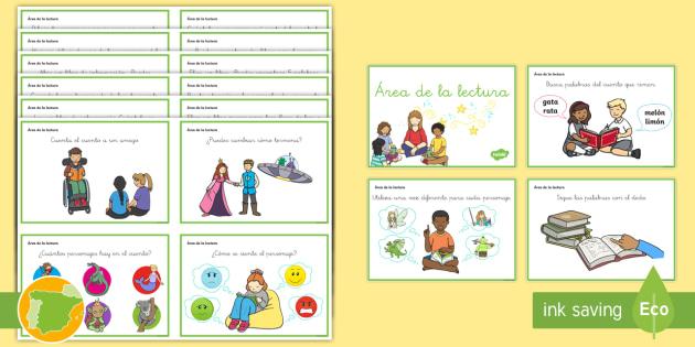 Tarjetas de trivial: Área de la lectura - desafío, libros, leer, tarjetas, biblioteca,Spanish