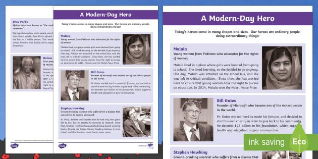 Modern Day Hero Fact File